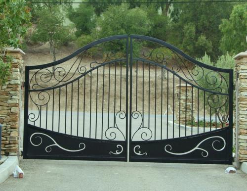 Double swing driveway gate, fullerton, elite gate motors,SchuVega Ironworks Driveway Gate Fullerton